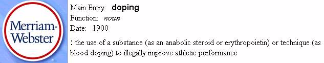 Merriam-Webster definition of doping