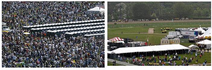 Shots comparing infield crowd 2008 vs 2009